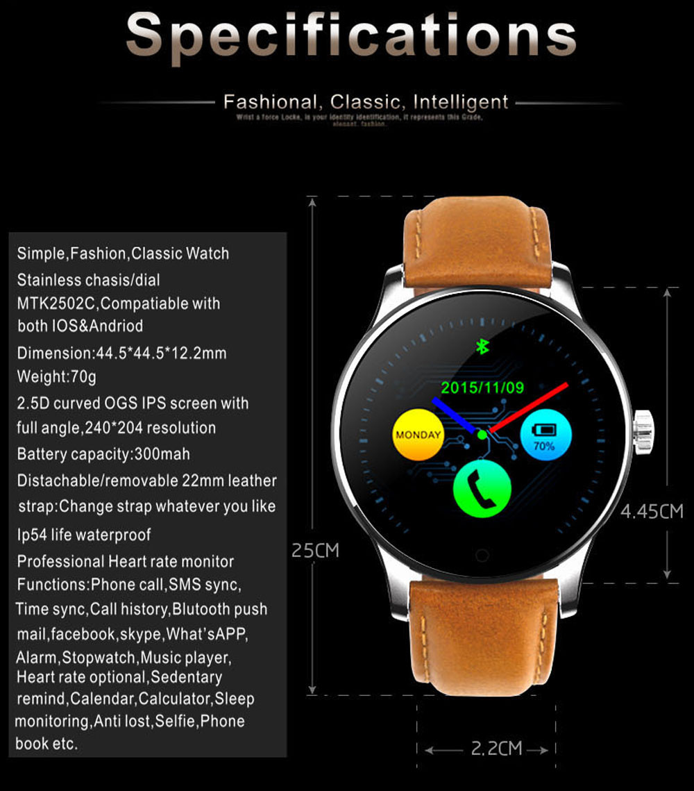 Makibes K88H Bluetooth Smart Watch Classic Health Metal Smartwatch Heart Rate Monitor for Android ISO Phone Remote Camera Clock 21