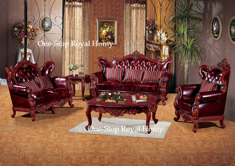 Home Living Room Furniture Set Genuine Leather Sofa Hand Carved Solid Wood Frame Furnishing In Sofas From On Aliexpress
