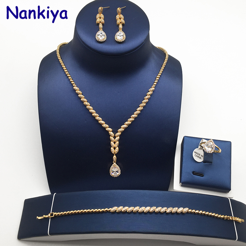 Nankiya Cute Water Drop Cubic Zirconia Jewelry Set Sparkling Top Quality Bridal Rhinstones Jewelry 4pcs Sets for Women NC172Nankiya Cute Water Drop Cubic Zirconia Jewelry Set Sparkling Top Quality Bridal Rhinstones Jewelry 4pcs Sets for Women NC172