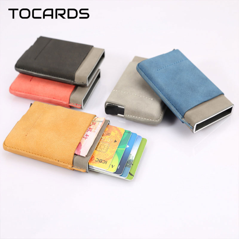 RFID Blocking Men Mini Slim Wallet Business Aluminium Credit Card Holder Thin Leather Purse Automatic Vintage Card Case for Man rj45 shield network sockets w indicator silver black 4 pcs