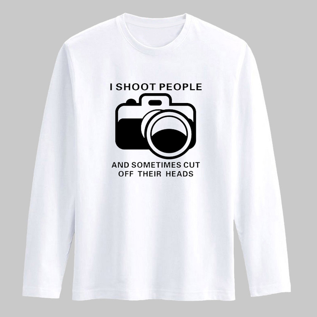 98e2b307 Camera Print Black/White T Shirt Men Long Sleeve Cotton and Street Wear Funny  T-Shirt Men in Mens hiphop Cotton Tees xxs