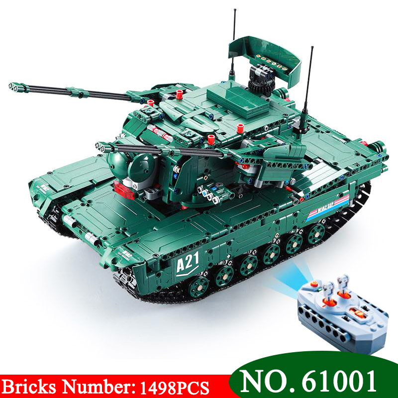 61001 1498Pcs Military Weapon Series The M1A2 RC Tank Model Building Blocks Bricks Educational Toys For