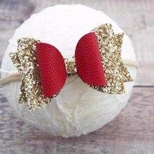 Thumblina 3,5 ''Рождественская повязка на голову для блеска волос заколки-бантики для волос Танцевальная Вечеринка повязка на голову с бантиком, для девочек, женские аксессуары для волос