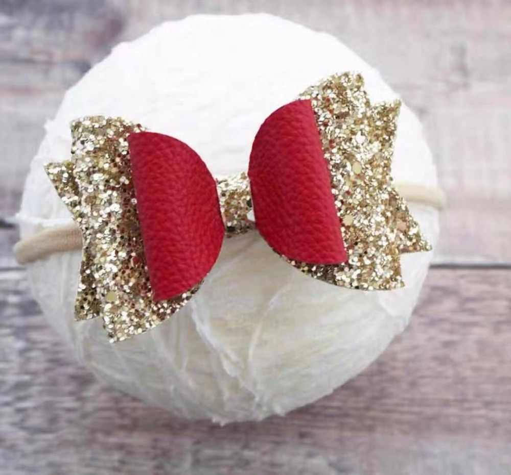 Thumblina 3.5''  Christmas Headband  Glitter Hair Bows Hair Clips Dance Party Bow  Head Band Girls Hair Accessories