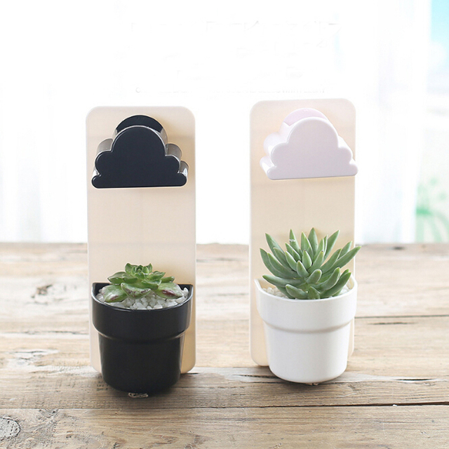 New Tiny Creative Designed Random Color Cloud Rainy Pot Wall-hung Plant Flower Pot Vase Yard Home Decoration Decor MA976603
