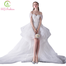 SSYFashion New Sweetheart White Lace Embroidery Short Front Long Back Long Tailed Wedding Dress The Bride Married Wedding Gowns(China)