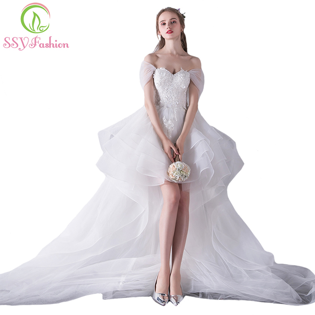 SSYFashion New Sweetheart White Lace Embroidery Short Front Long Back Tailed Wedding Dress The Bride