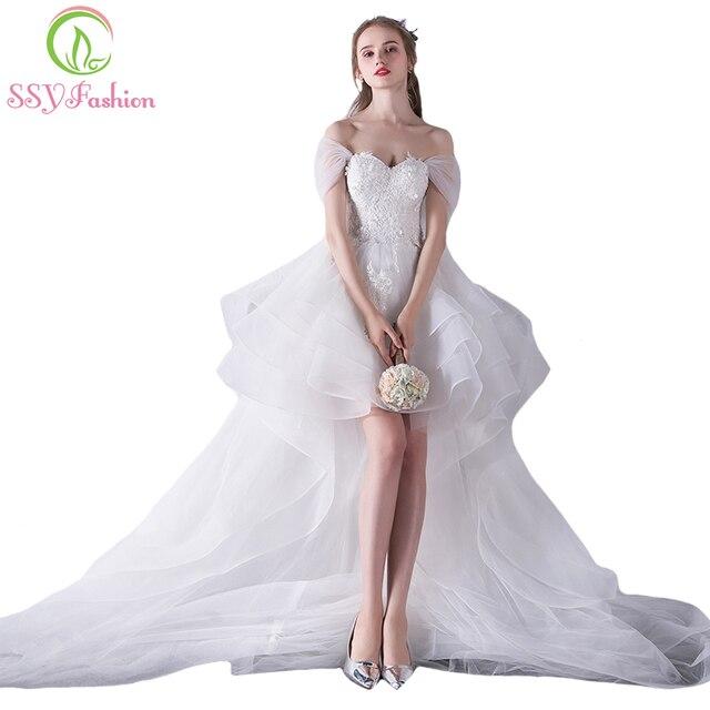 5f5f41c50f98e Ssyfashion جديد الحبيب الأبيض الدانتيل والتطريز قصيرة الجبهة طويل العودة  طويل الذيل فستان زفاف العروس تزوج