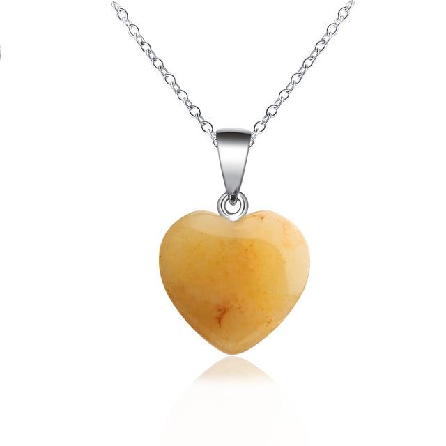 1Pc NEW Fashion Heart Stone Pendant Necklace Rock Natural Quartz Crystal Healing Chakra Stone Pendant Necklace for Women Jewelry