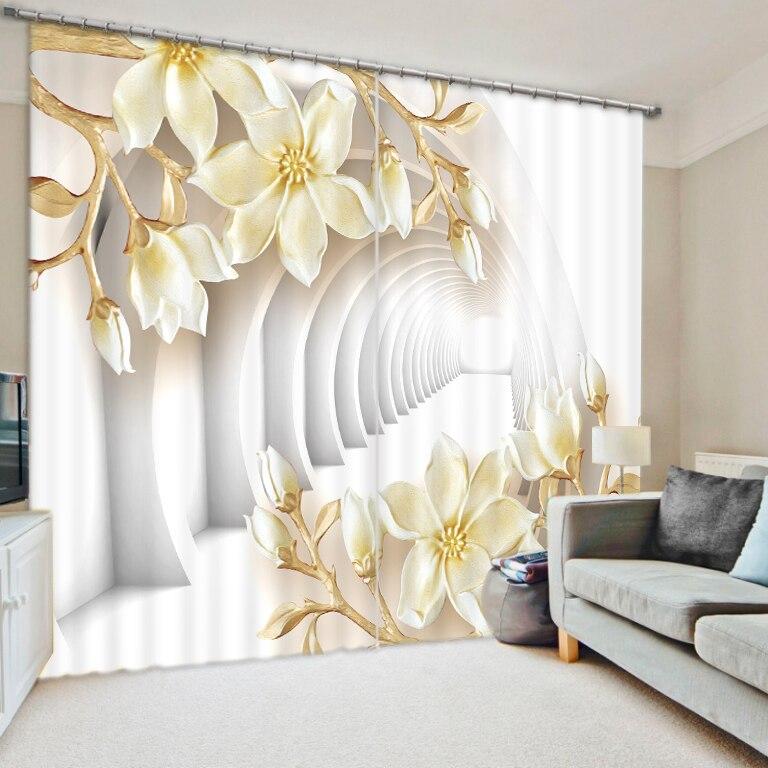 Blanco mundo flor dormitorio sala de estar cocina hogar textil lujo 3D ventana cortinas regalo para la familia-in Cortinas from Hogar y Mascotas    1