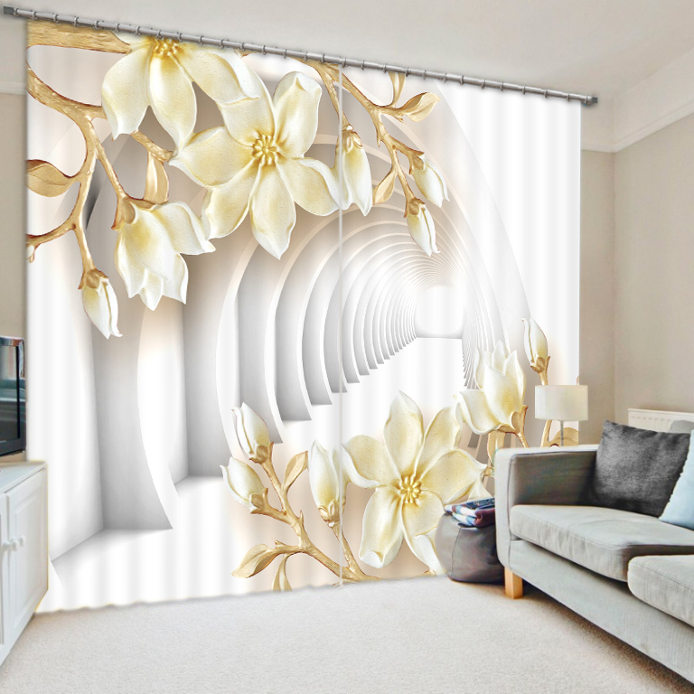 White World Flower Bedroom Living Room Kitchen Home Textile Luxury 3D Window Curtains Gift For FamilyWhite World Flower Bedroom Living Room Kitchen Home Textile Luxury 3D Window Curtains Gift For Family