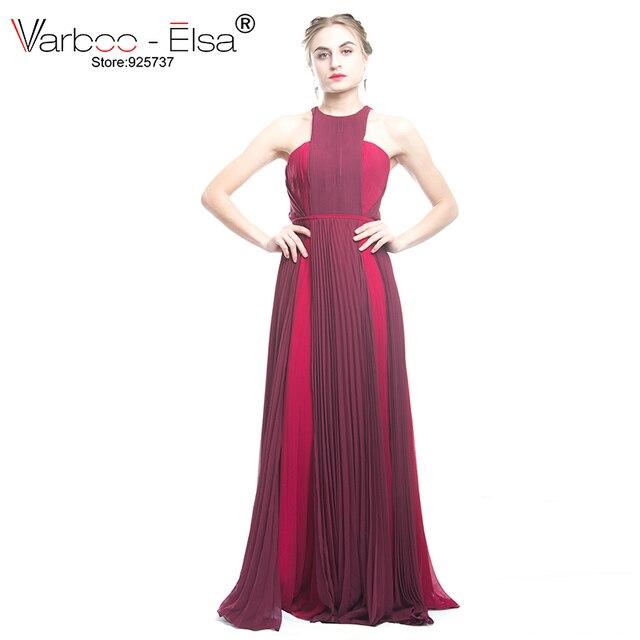 d8662169b VARBOO ELSA elegante vestido de noche largo rojo vino manga vestidos  formales Tulle Appliques vino rojo largo vestido de fiesta 2018