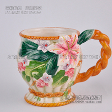 Tea coffee mugs ceramic lily flowers milk cup home decor craft room decoration porcelain figurine handicraft cup wedding gifts chinese flower tea lily flowers lily flowers in bulk bulk tea f237