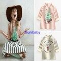 2016 бобо выбирает кролик девушки рубашку в полоску свитер с высоким воротом рубашки для девочек vestidos bebe детская одежда детей Длинным рукавом sweatershirt