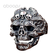 Punk Black 925 Sterling Silver Evil Skull Open Ring with Double Dragons for Men Boys Adjustable Free Shipping two tone 925 sterling silver skull ring with hat for men women adjustable 8 10 free shipping