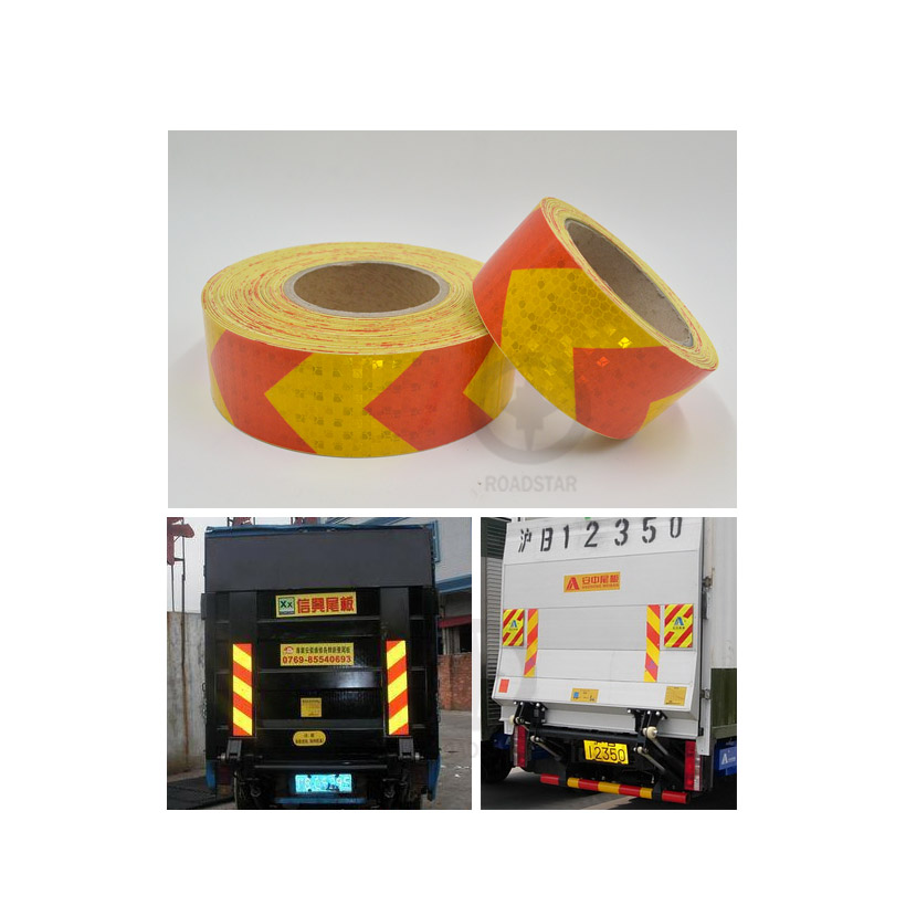 5cmx3m Small Shining Square Self-Adhesive Reflective Warning Tape With Yellow Red Color Arrow Printing For Car