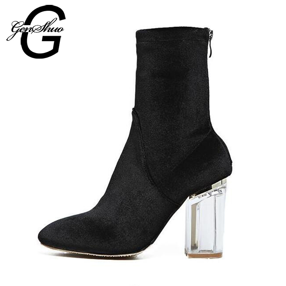 GENSHUO New Fashion Sexy Women's Ankle Boots High Heels Women Autumn Boots Ladies Shoes Black Velvet Boots Zipper Clear Heels