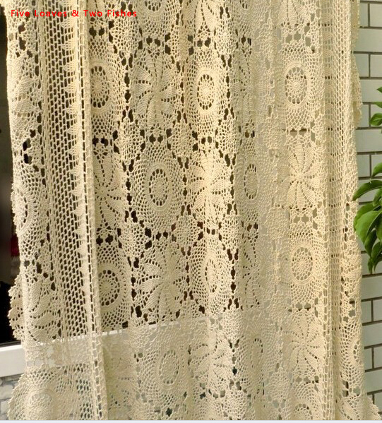 Handmade Crochet Flowers Woven Cotton Lace Curtains Beige Bed Cover European Openwork Decoration Cloth In From Home Garden On