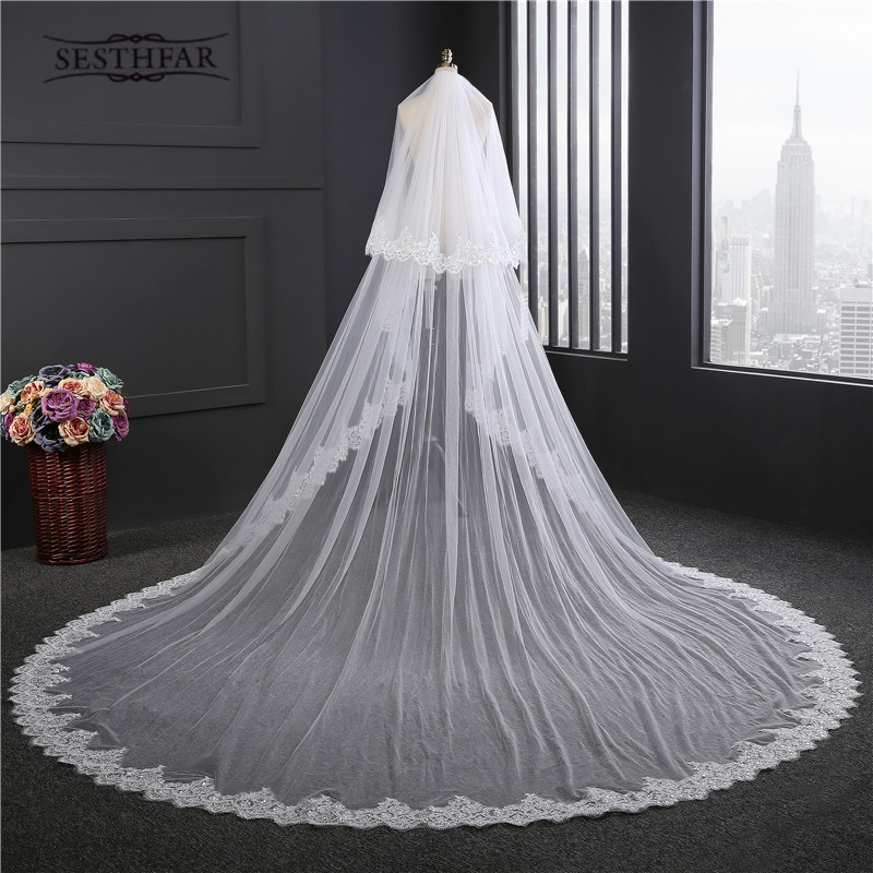 New Super Wide Bridal Veils New 2017 Two Layers 3 5 m White Ivory Bridal Accessory