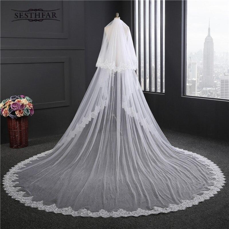 aeca97a9f0 Nuevo Super Velos de novia Nuevo 2017 dos capas 3.5 m blanco Marfil accesorio  nupcial velo para novias Encaje boda velo con peine