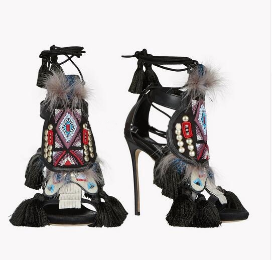 2016 Summer Fashion Retro Style New Lace Up Tassel Sandals Stiletto High Heels Feather Beading Ankle Strap Women Casual Shoes retro tiny bell tassel anklet for women