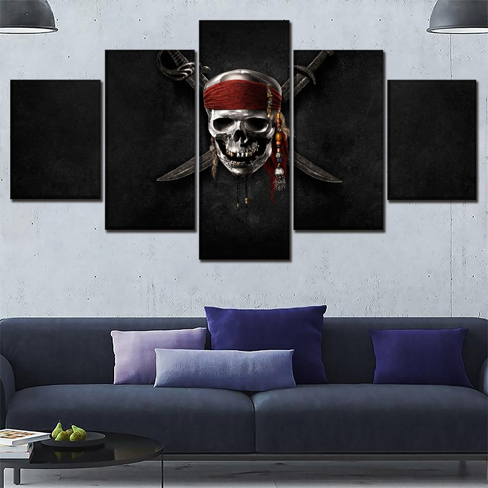 5 Panel Skull Poster Movie Pirates Of The Caribbean Picture One Set Framework Or Unframed Modern Artwork Home Decor Painting