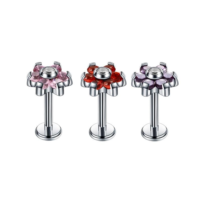 100 pièces G23 titane oreille Targus Piercing fleur titane Zircon Labret lèvre Piercing - 2