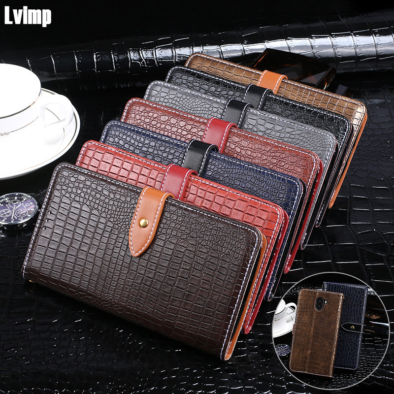 Hand Strap Wallet Case For Leagoo Kiicaa Mix Case 5.5 inch Luxury Crocodile Grain Flip Leather Case For Leagoo Kiicaa Mix Cover