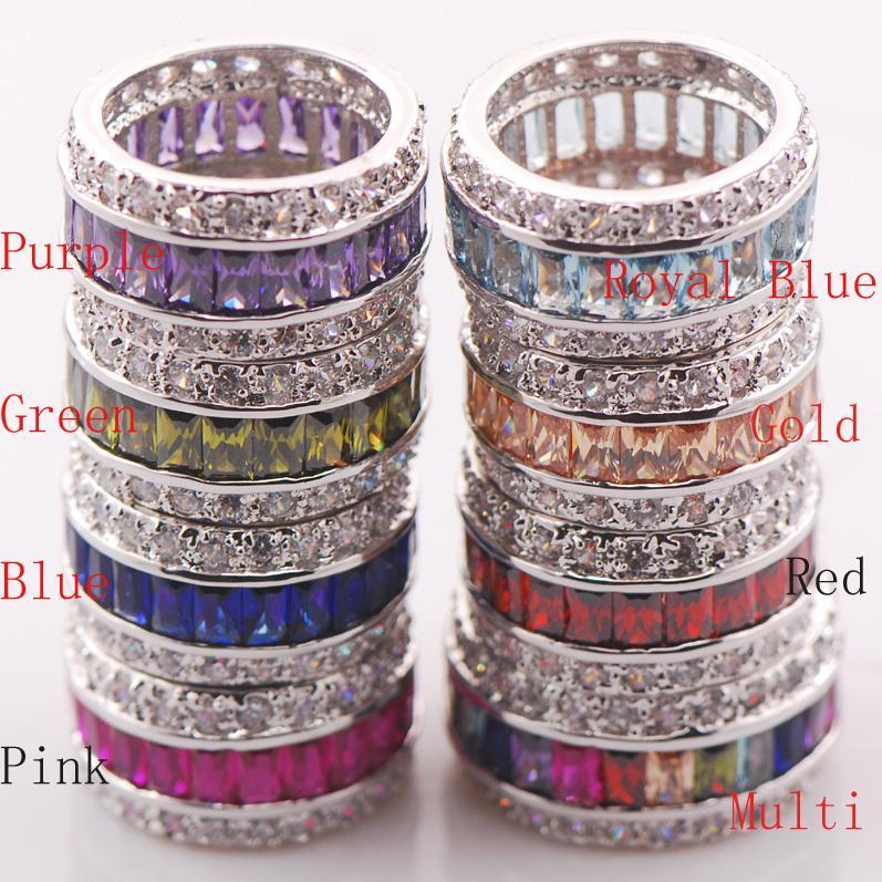 Garnet Morganite Pink Kunzite Blue Crystal Zircon 925 Sterling Silver Ring Size 6 7 8 9 10 11
