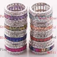 Granat Morganite Rosa Kunzit Blau Kristall Zirkon 925 Sterling Silber Ring Größe 6 7 8 9 10 11