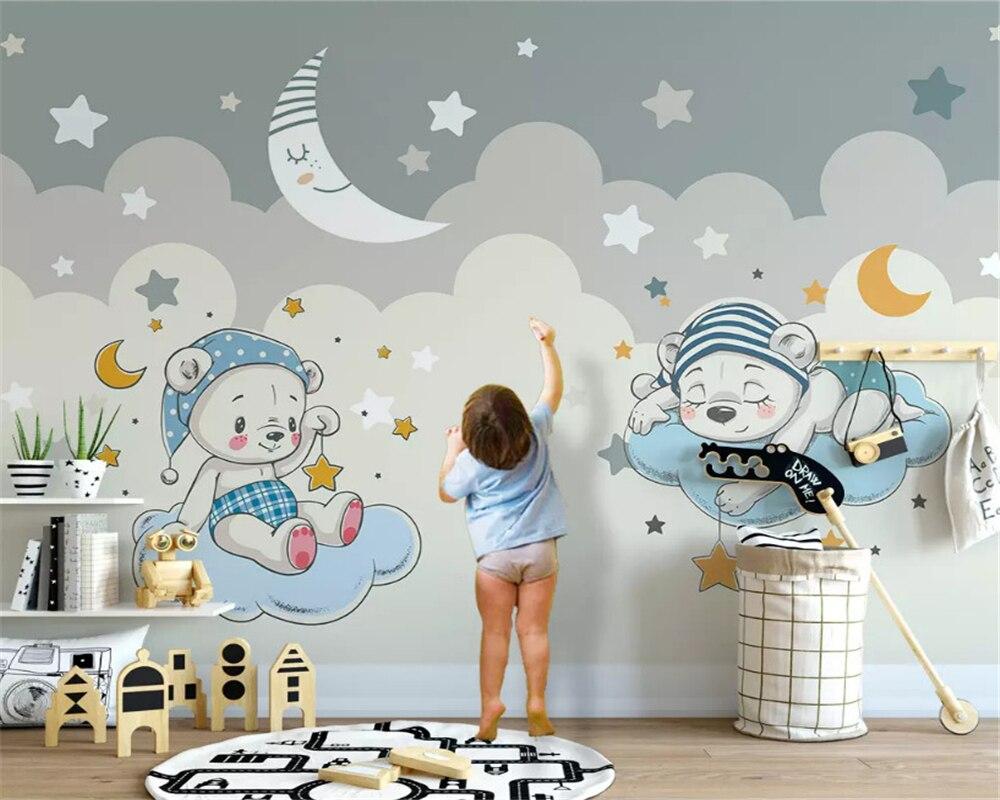 Beibehang Personalizado modern moda estéreo papel de parede elefante equitação da bicicleta crianças nuvem fundo papéis de parede decoração da sua casa
