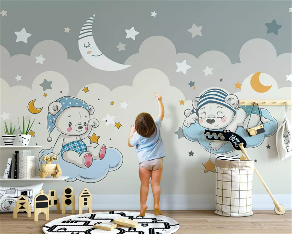 Beibehang personalizado moderno papel tapiz estéreo de moda elefante montar bicicleta nube niños papeles de pared de fondo decoración del hogar Papel tapiz no tejido de estilo europeo papel tapiz clásico rollo púrpura/gris papel tapiz de lujo papel de pared floral papel de pared V1