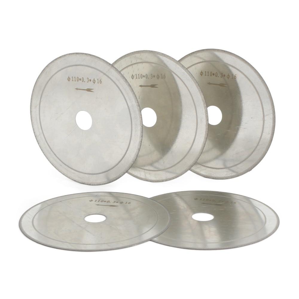 5Pcs 110mm 4.5 Inch Lapidary Diamond Saw Thin Edge Rim Cutting Blades Arbor 5/8