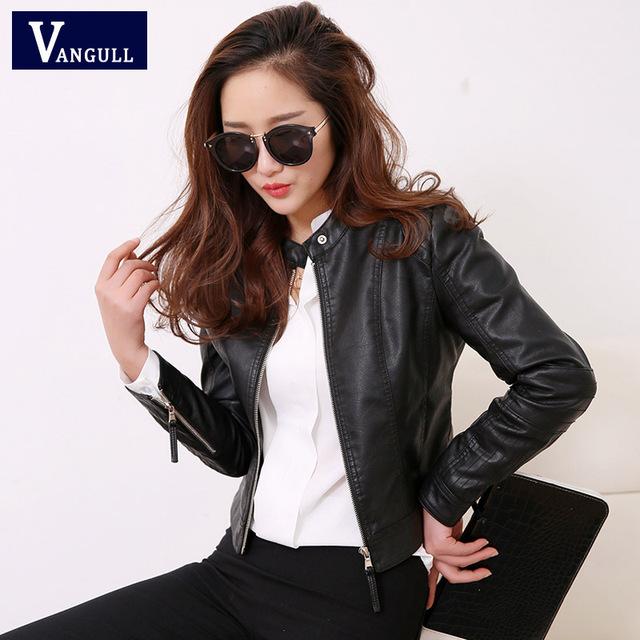 VANGULL European Style PU Leather Jacket 2019 New Autumn Motorcycle Leather Outwear Women Slim Biker Coat Basic Streetwear