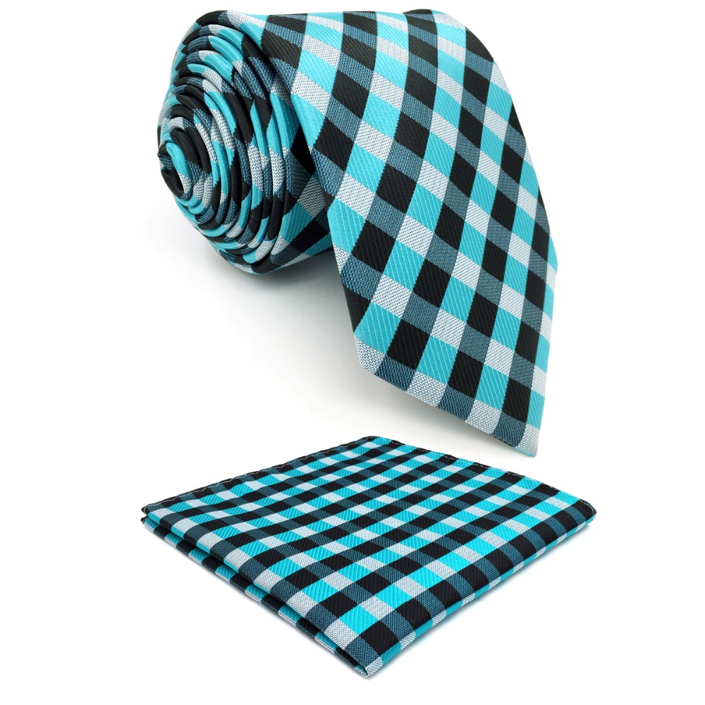 P13 Extra long size Checked Light Blue Black Grey Gray White Mens Neckties Ties 100% Silk Jacquard Woven Fashion hanky 63