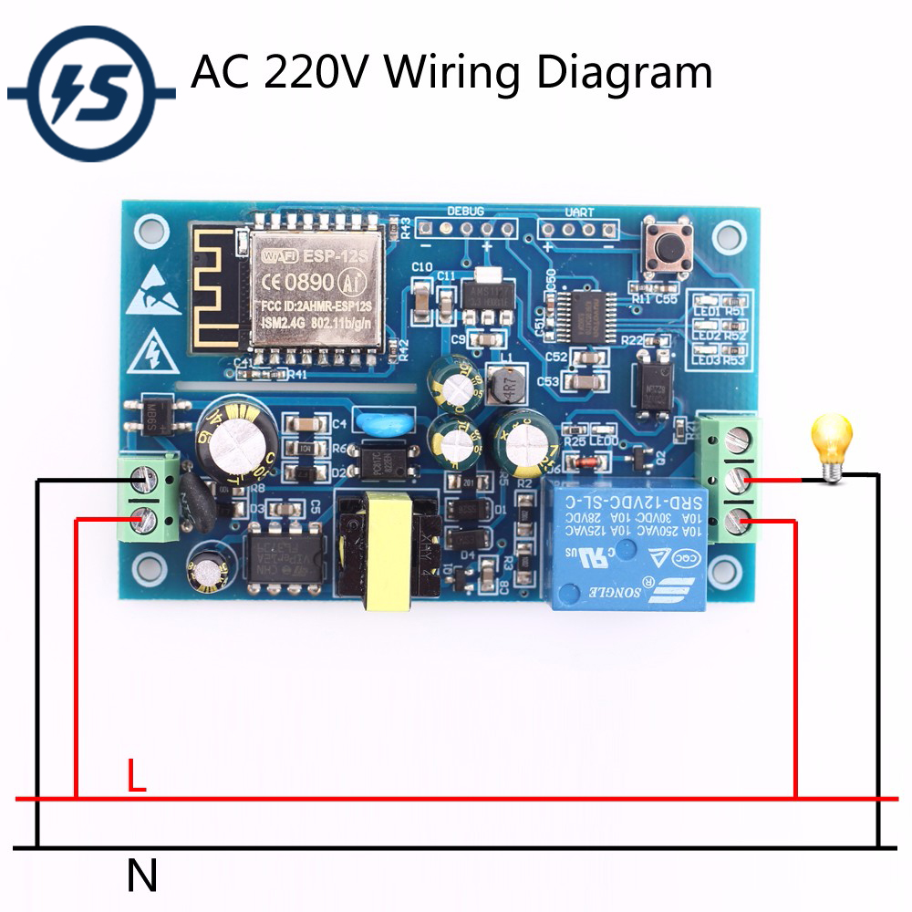US $8 99 25% OFF|AC 220V ESP8266 WIFI Relay Switch Remote Control Smart  Home IOT Transmission Relay Module Board For Arduino-in Integrated Circuits