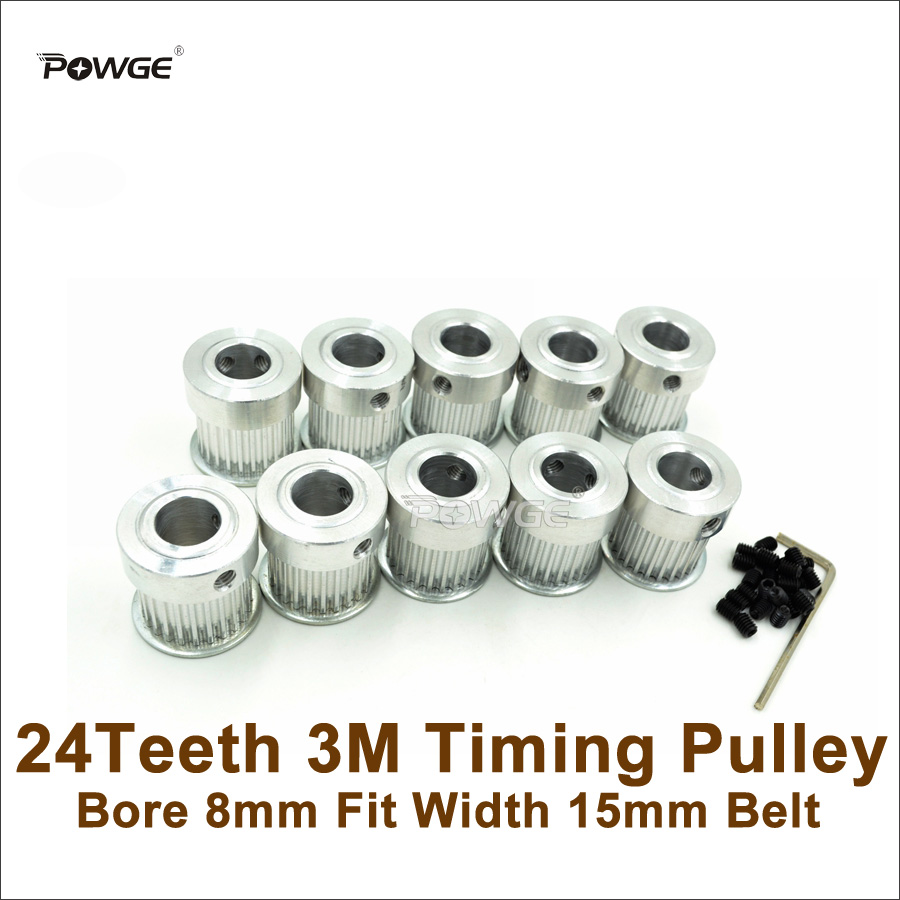 POWGE 10pcs 24Teeth 3M Timing Pulley Bore 8mm Fit Width 15mm HTD 3M Timing Belt 24T