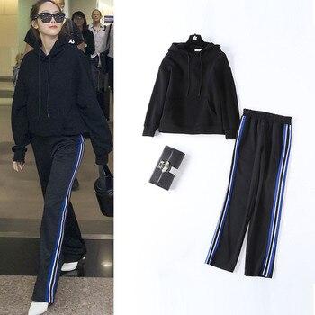 Fashion women's leisure suits Casual hoodies+side stripe pants two piece set sweat suit women D968