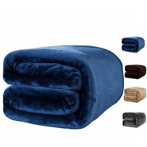 Image 1 - テキスタイルフランネル毛布スーパー暖かいソフト毛布スローに/ベッド/プレーントラベル枕インテリア · 寝具