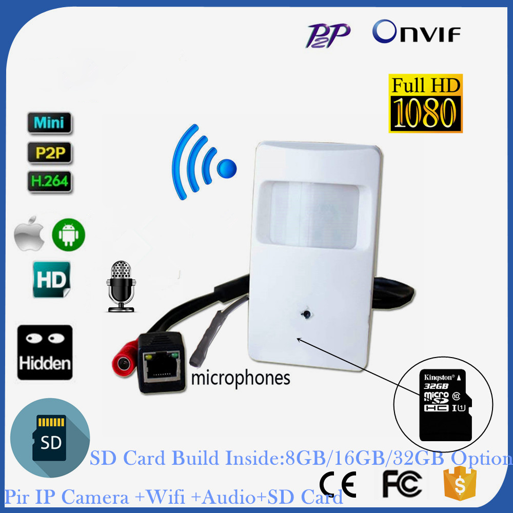 1080P 2.0MP Mini IP Camera WIFI Covert HD PIR STYLE Motion Detector Wireless IP Camera Audio Sd Card Wifi P2P Surviallance цена 2017