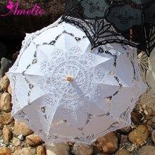 Семейный сад вечерние ручной работы хлопок Баттенбург Кружева Зонтик Свадебные сувениры гостей декоративный зонтик