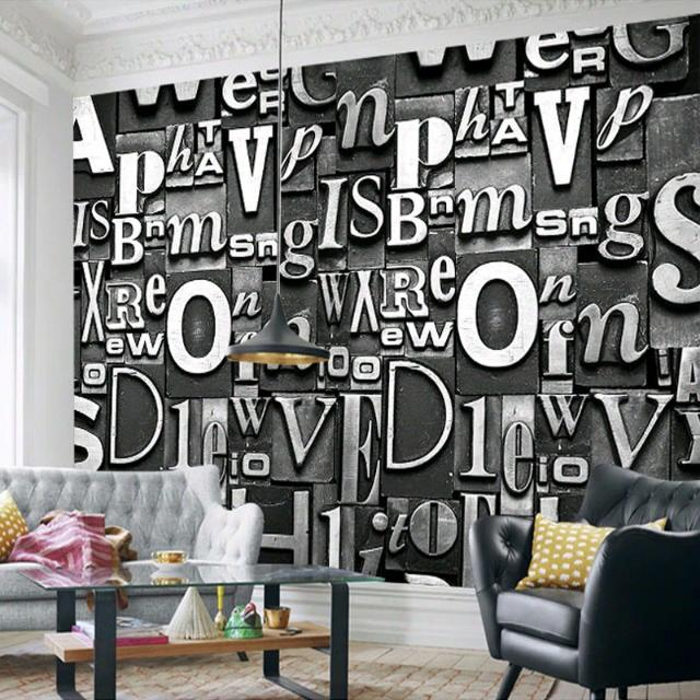 Chaos letters wallpaper 3d of wall paper living room 3d for Living room 6 letters