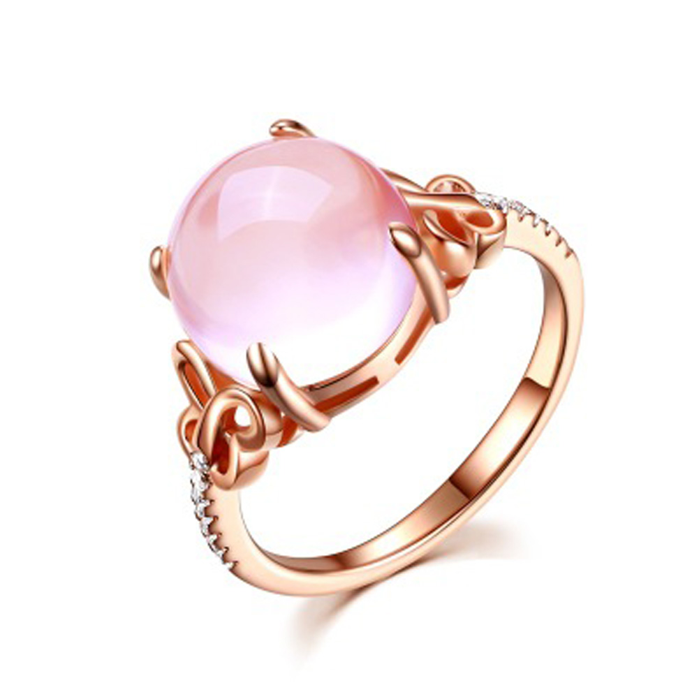Pure Copper Pink Stone Rings Jewelry Butterfly Adjustable