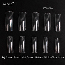volodia High Quality 500 Pieces Square French Half Cover Flase Nail Tips Ploybag Pack Professional Salon UseFake Fingernail Tips