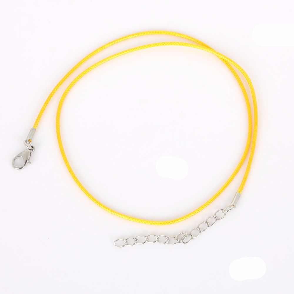 新しい到着多色銀メッキロブスタークラスプネックレスに掛けるロープペンダントチェーン付きレザーコード1.5ミリメートルdiyのネックレス