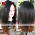 Newest!1B&#30 heat resistant hair wig two tone ombre color glueless black brown natural straight synthetic lace front bob wig