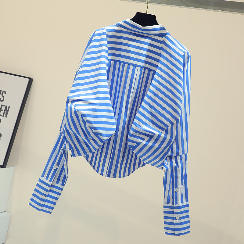 Blue Vertical Striped Blouse Female 2019 Spring Fall New Korean Loose Shirt Women's Oversize Shirts Woman High Street Tops