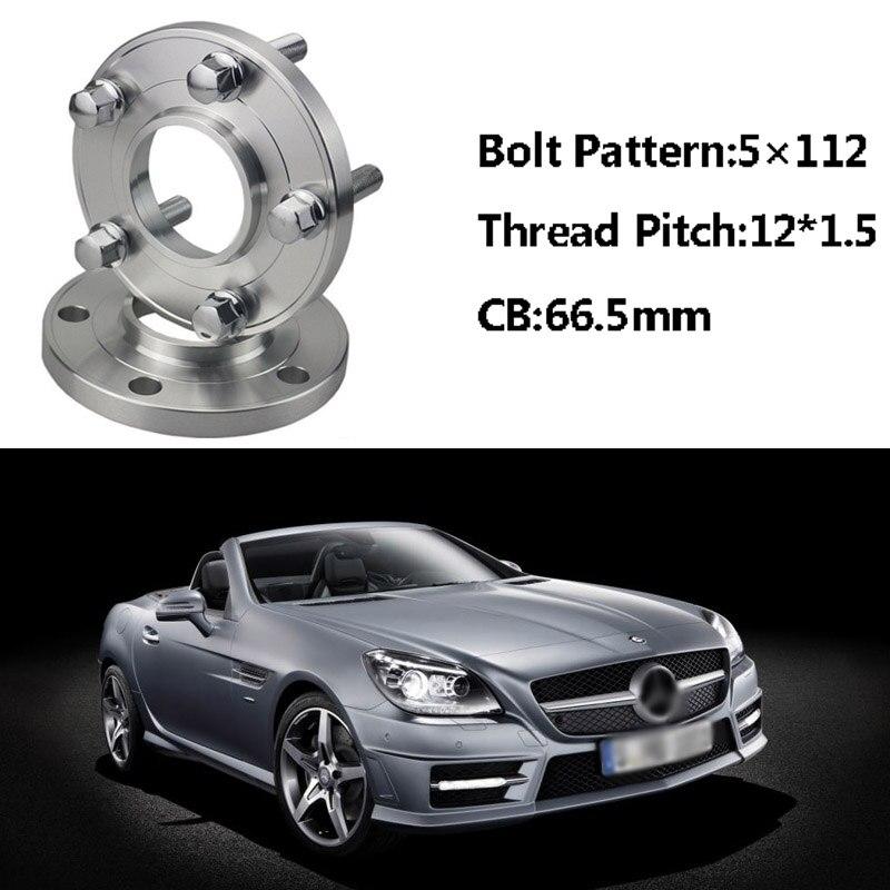 2 pièces 5x112 66.5CB Centric Entretoise De Roue Moyeux M12 * 1.5 Boulons Pour Benz SLK R171 R170 Classe E W214/210A Classe W168 Classe C W203