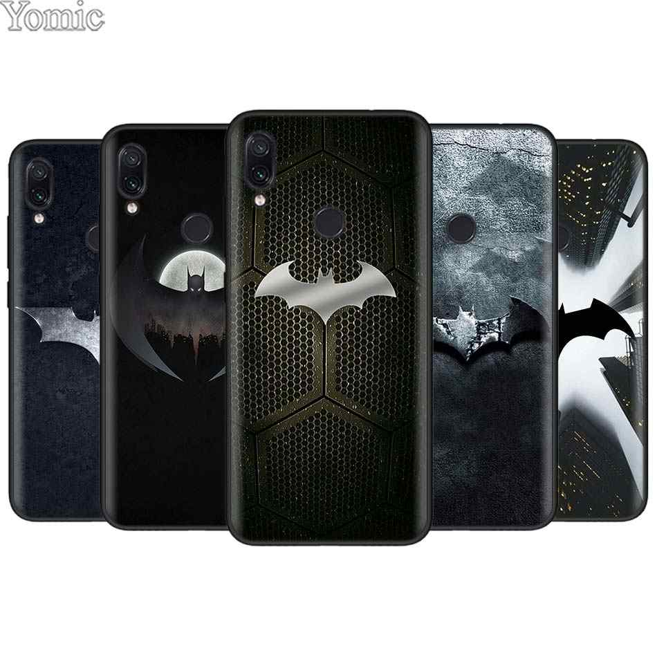 Legal marvel batman logo preto caso para xiaomi redmi 7 6 5 nota 7 6 pro 4x 5a 6a s2 go poco f1 silicone macio capa