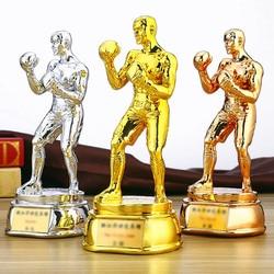 Regalos conmemorativos personalizados de alta calidad de resina de la Liga de los Campeones de la Copa del Trofeo de las artes marciales de boxeo bañadas en oro